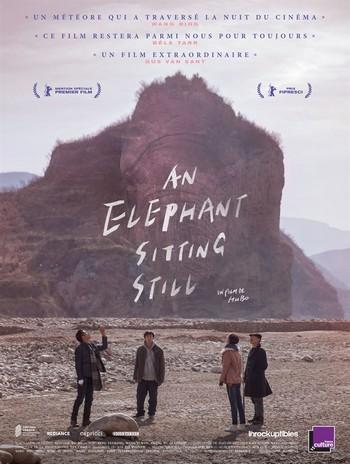 An Elephant Sitting Still Affiche